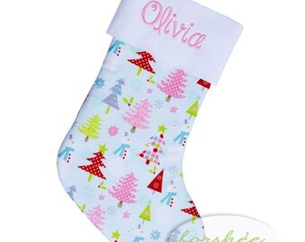 Baby Girl First Christmas Stocking Embroidered Stocking | Personalized Stocking Option Available | CS0015 | READY TO SHIP