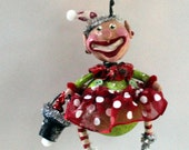 Christmas Elf Girl Folk Art Holiday Ornament
