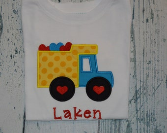 Personalized Valentines Day DumpTruck Shirt or Bodysuit