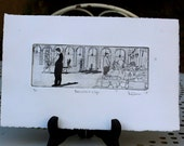 Barcelona Cafe: wall art decor, urban portrait, people, a hand pulled limited edition etching