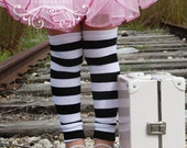 Black and White Striped Baby Toddler Leg Warmers