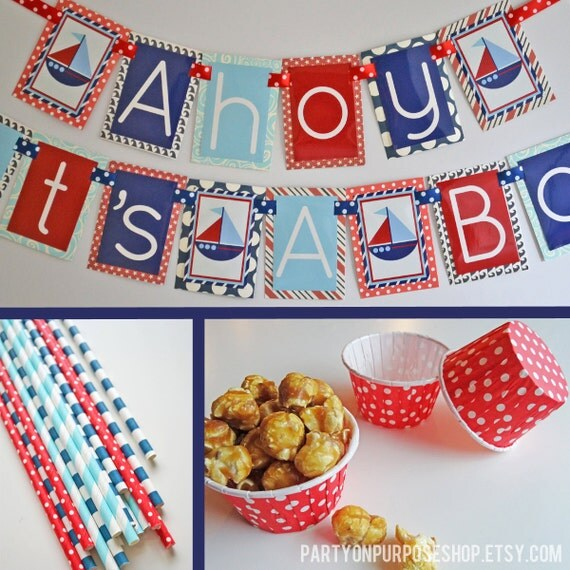 ahoy its 39 a boy nautical baby shower decorations red white blue fully