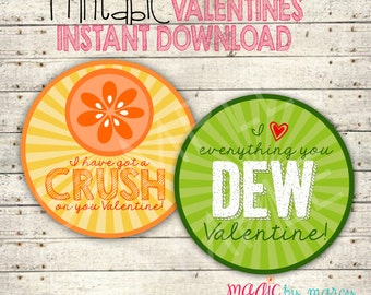 INSTANT DOWNLOAD DIY Valentines Day Printable Soda inspired tags