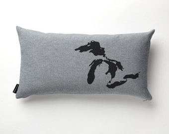 Great Lakes Pillow in Denim with fill
