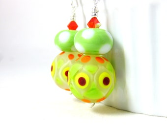 Colorful Geometric Earrings, Lime Green Orange Yellow Red Earrings, Polka Dot Earrings, Glass Earrings, Dangle Earrings, Lampwork Earrings
