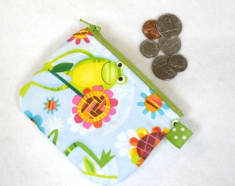 Cute Frogs Mini Coin Purse Fabric Zipper Change Purse Silly Frog Blue Green Pink Handmade