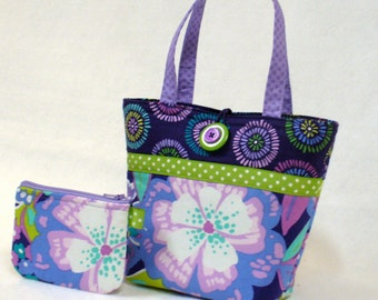 Little Girls Purse and Coin Purse Set Mod Floral Fabric Mini Tote Bag Childs Purse Midnight Navy Orchid Lavender Tuquoise Lime MTO