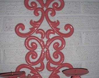 upcycled painted CORAL Wall Sconce 2 arm Fleur De Lis Scrolly Romantic Wall Hanging Pop of Color
