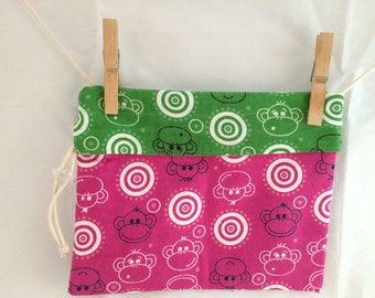 Knitting and Crochet Reversible Project Bag, Monkey's, Medium