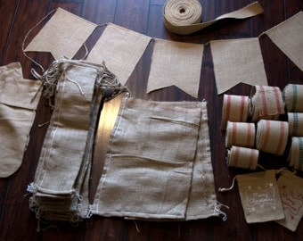 Lot of Burlap Items * Stamping * Painting * Crafting