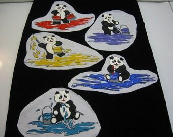 PANDA BEAR Sew-On Applique LOT Chrildrens Clothing Pajamas Shirts Sweaters Pants Room Decor