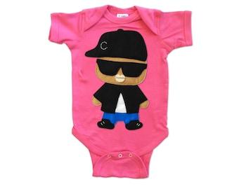 Baby Hip Hop Onesie - Rad Rapper - Sunglasses - Raspberry Infant Bodysuit - Rap Clothing - Baby Shower Gift