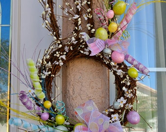 Easter Bunny Head Spring Wreath,Easter Wreath,Bunny Decoration,Bunny Head with Easter Eggs and fun Easter Ribbon,Easter Bunny With Eggs
