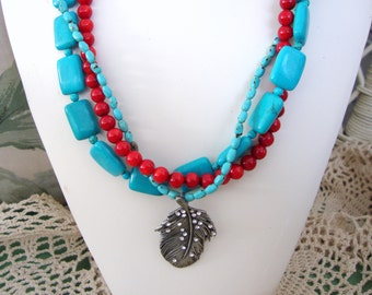 Triple Strand Turquoise Necklace with Feather Pendant