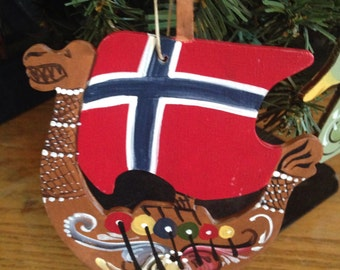 Viking Ship Flag ornament