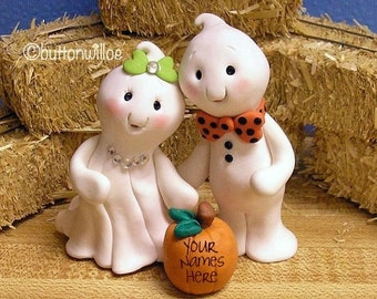 Halloween Cute Ghost Bride and Groom Wedding Cake Topper with Personalized Pumpkin
