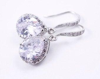 Bridal Earrings Wedding Jeweley Cubic Zirconia and Rinestone Wedding Earrings Diana