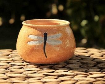 Lovely Burnt Orange Stoneware DRAGONFLY Mini Planter