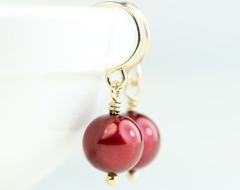 Cranberry colored 7mm Freshwater Pearl Drop earrings, gold filled hooks, simple pearl dangle earings, art4ear, Free shipping in Canada, red