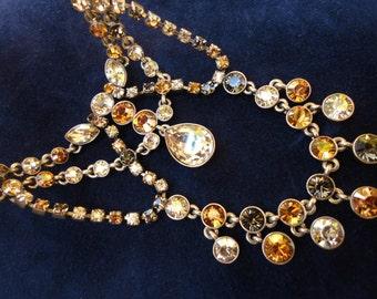 Sparkling Givenchy Rhinestone Bib Necklace
