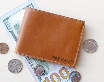 Mens Leather Wallet - Leather Bifold Wallet - Engraved Wallet