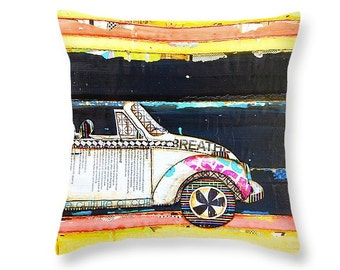 Vw Volkswagen Bug at Night throw ART PILLOW, home decor pillow, housewares, distressed, mixed media, collage