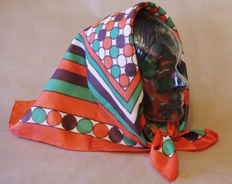 Vintage 1970s Orange, Green Brown Graphic Bold Square Scarf