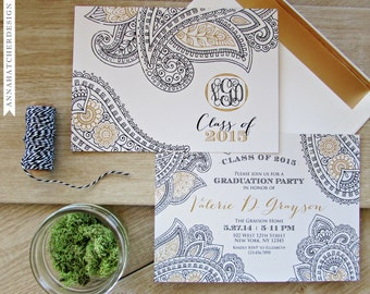 Paisley Graduation Announcements - Graduation Invitations - Flat, Folded, Photo, Any Color - High Quality Printed Invites