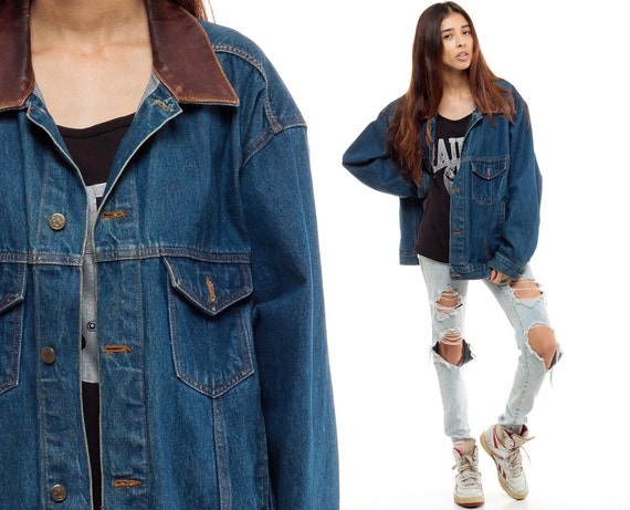 80s Denim Jacket LEATHER COLLAR Jean Jacket Grunge Oversize
