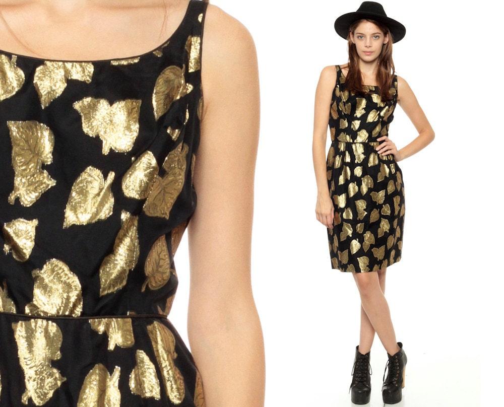 60s Party Dress 1960s Mini GOLD Leaf Print Black Cocktail
