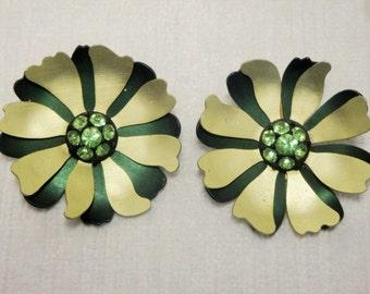 Vintage 1950's Aluminum and Rhinestone Earrings