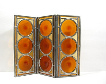 Stained Glass Tabletop Folding Screen Candle Holder Vintage Vignette Display