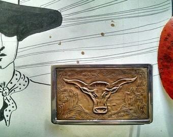 Vintage Cowboy Belt Buckle Western Longhorn Steer Copper Repoussé