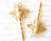 Golden Bumble Bee Hair Pins - Gold Bumble Bee Bobby Pins - Bumblebee - Woodland - Nature Wedding Hair