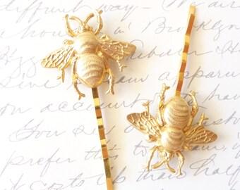 Golden Bumble Bee Hair Pins - Gold Bumble Bee Bobby Pins - Bumblebee - Woodland - Nature Wedding Hair