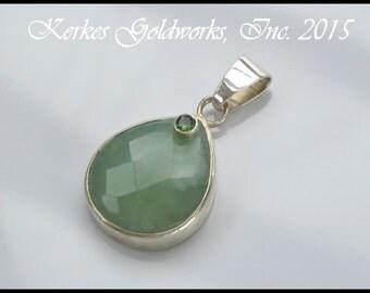 Mint Green Aventurine and Grass Green Tourmaline Pendant Handmade Silver