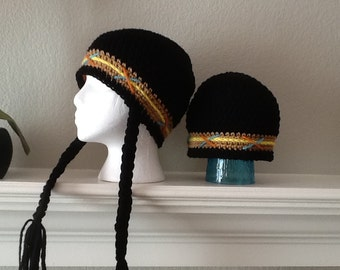 Made to Order Baby Toddler Child Adult Thanksgiving Indian Hat With Braids Autumn Cap Toboggan Crochet Crocheted Handmade Beanie