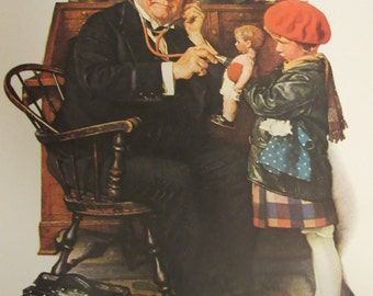 DOCTOR and DOLL/Norman Rockwell Post Cover Print/March 9, 1929/Unframed Print/11.5 x 15 in