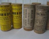 Vintage Medicine Herbs Wood Antique Pill Holder Vials