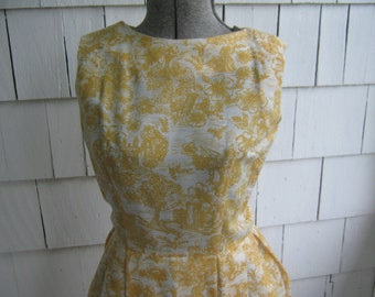 Vintage Dress Jonathan Logan Yellow White Cotton Blend Print 50s
