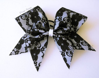 Black Lace Bow~ Cheer Bow ~ Sports bow
