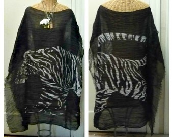 Black Tiger Caftan Poncho Shawl Ruana Womens Halloween Oversized One Size Plus Size Tribal Boho Ready to Ship