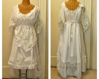Linens Wedding Dress Size Large, XL Green Embroidered Celtic Irish Vintage White Hi Lo Boho Corset Womens Tattered St. Patricks