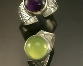 Amethyst OR Prehnite Sterling  Silver  Ring Adjustable Free US Shipping
