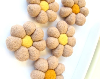 SALE Camel felted wool flowers