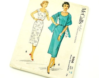 Vintage 1950s Womens Size 14 Wiggle Dress and Stole McCalls Sewing Pattern 9466 / Scalloped Neckline, Fitted Bodice / bust 32 / Complete