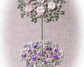 Silk Ribbon Embroidery - Standard Roses with Pansies - Full kit