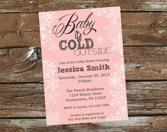 Winter Wonderland Baby Shower Invitation Pink or Blue - Print Your Own