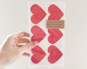 36 Large Red Heart Stickers - Lovely Red - sticker tags, labels, name tags
