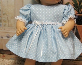 Blue Dots and Daisies Dress and Panties for Bitty Baby